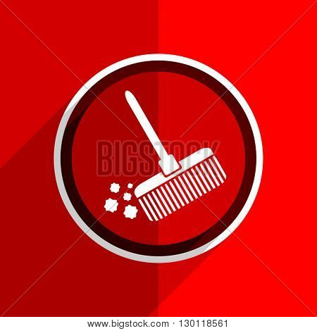 red flat design broom web modern icon