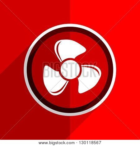 red flat design fan web modern icon