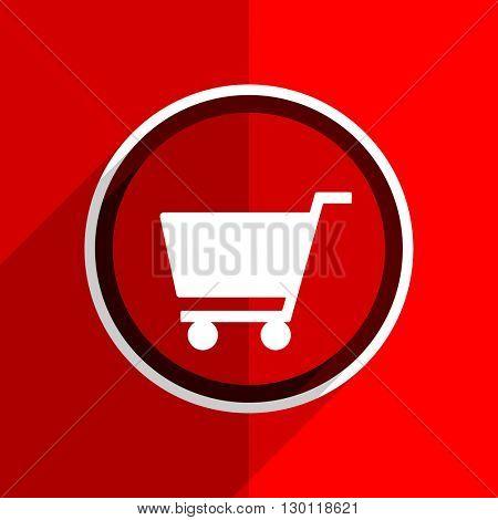 red flat design cart web modern icon
