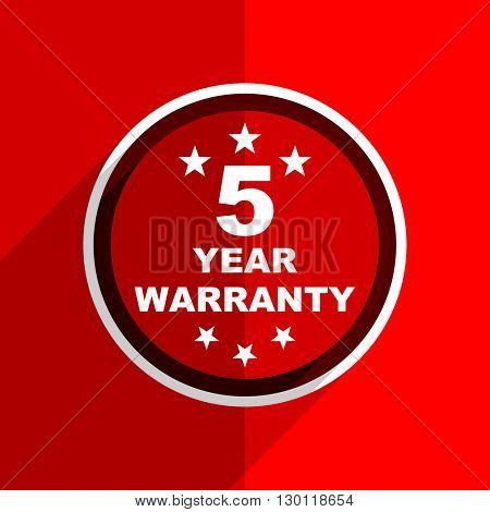 red flat design warranty guarantee 5 year web modern icon