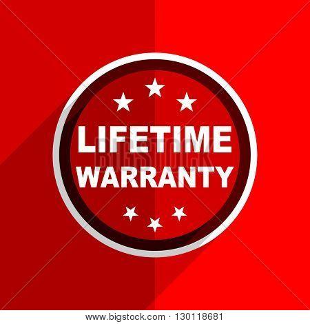 red flat design lifetime warranty web modern icon