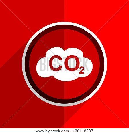 red flat design carbon dioxide web modern icon
