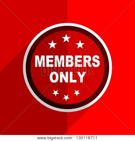 red flat design members only web modern icon