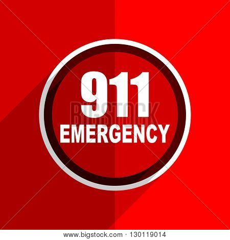 red flat design number emergency 911 web modern icon