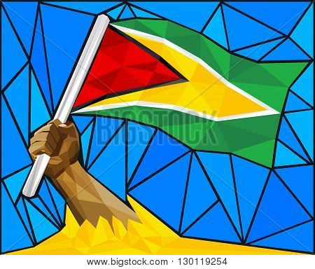 Strong Hand Raising The Flag Of Guyana