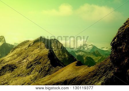vintage mountains in the national park Hohe Tauern in Alps in Austria. Backgrounds