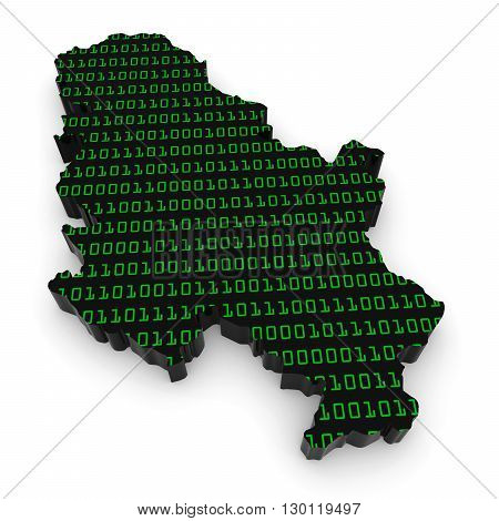 Serbian Technology Industry Concept Image - 3D Illustration Map Outline Of Serbia With Green Binary