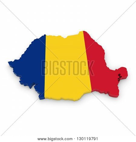 3D Illustration Map Outline Of Romania With The Romanian Flag
