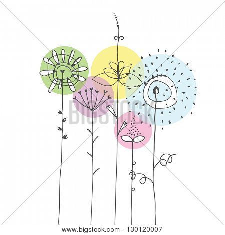 Colorful Flowers - design element Freehand drawings