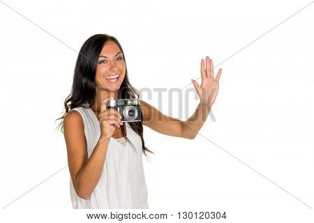 photographed woman with white background