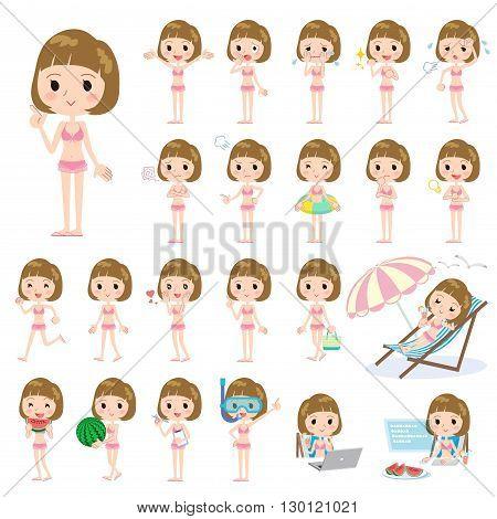 Straight Bangs Hair Woman Pink Ruffle Swimwear Style