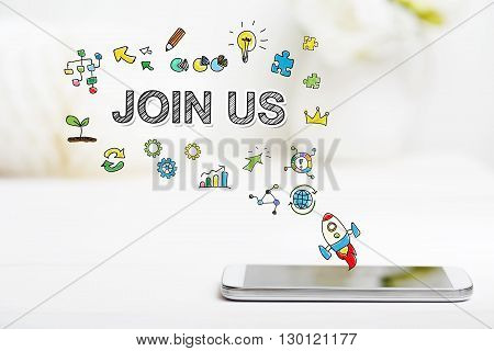 Join Us Concept With Smartphone