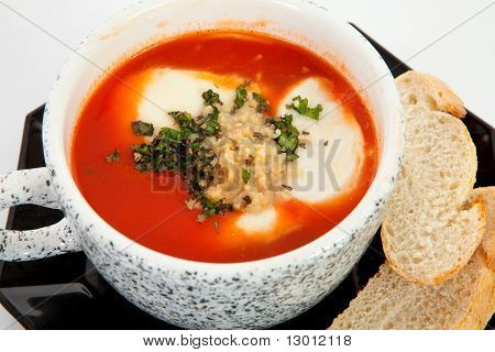 Cup With Tomato Soup And Bread
