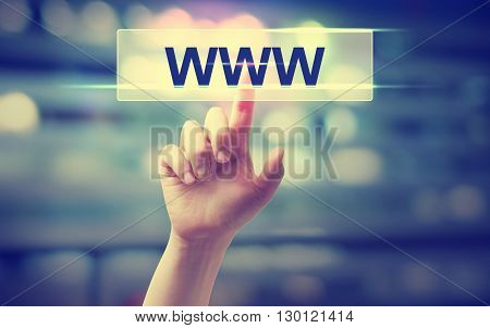 Www Concept With Hand Pressing A Button