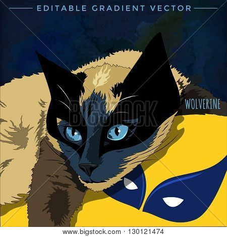 Wolverine Cat. Vector illustration of a cat at home.