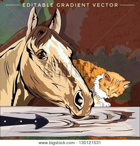 Kitten and Horse. Vector illustration of a cat at home.