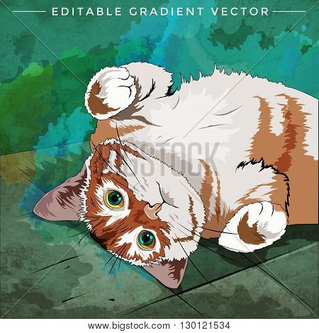 House Cat. Vector illustration of a cat at home.