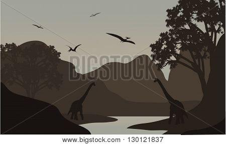 pterodactyl and brachiosaurus silhouette in river with brown backgrounds