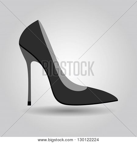 Single women sexy stiletto high heel shoe icon on gray gradient background
