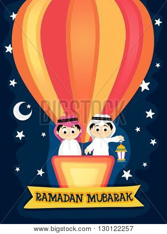 Cute Islamic Boy flying on hot air balloon in Night Background, Celebrating and enjoying on occasion of Ramadan Mubarak.