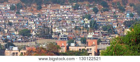 Mumbai, India - December 5, 2015 - Slum view from Vikhroli, 54% of Mumbai population lives in the slums.