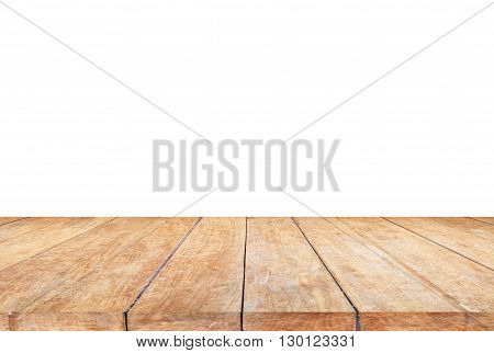 Top of wooden table on white background, stock photo