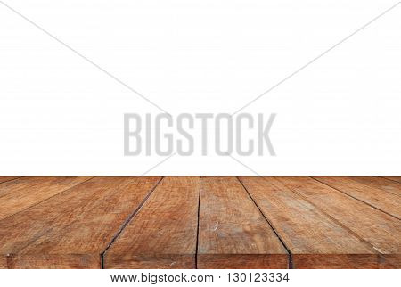 Wood table top on white background, stock photo