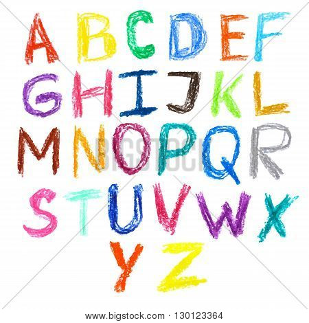 Crayon kids drawn colorful font isolated. Vector illustration