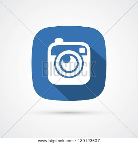 Photo or hipster camera flat icon with long shadow. Vector
