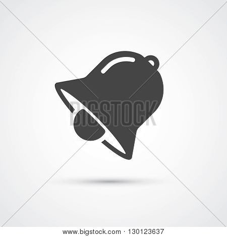 Bell black flat black icon. Vector illustration