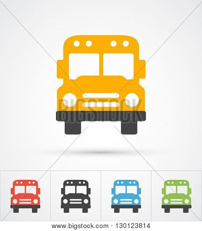 Bus trendy color trendy icons.  Vector illustration