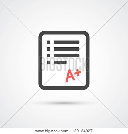 Test paper trendy flat icon.  Vector illustration