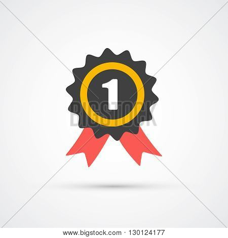 Prize with ribbon trendy flat icon. Vector illustration
