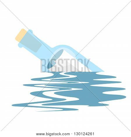 Message In A Bottle. Vector Illustration Of A Message Bottle Floating On The Sea