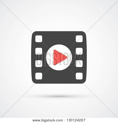 Film or Media Icon with play. Vector illustration