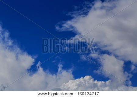 Blue sky with cloud. Meteorology. Synoptics. Good weather. Changes in the weather. Cloud Front.
