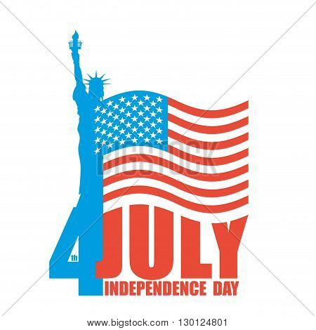 July 4Th Independence Day Of America. Statue Of Liberty And Usa Flag. National Patriotic Holiday. St