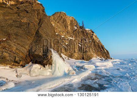 Island Lohmaty. Beautiful winter landscape in the Lake Baikal.