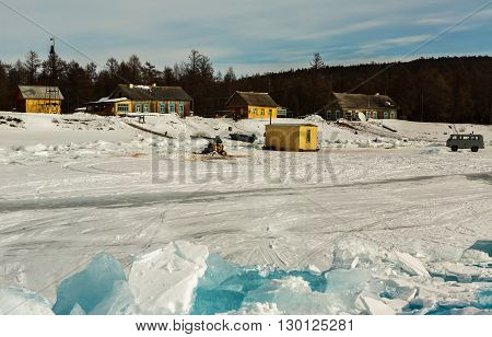 Baikal, Russia - March 08, 2016: Weather station on the island Ushkany in the Lake Baikal.