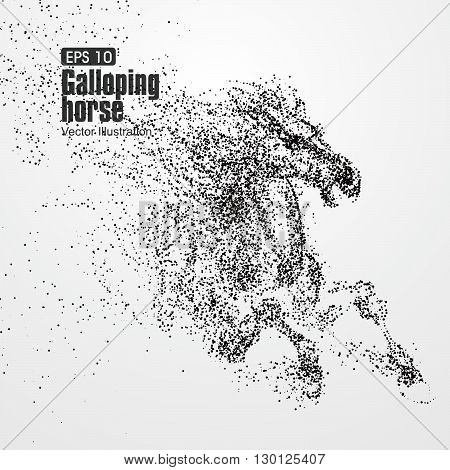 Galloping horse,Many particles,sketch vector illustration,The moral of hard work ahead.