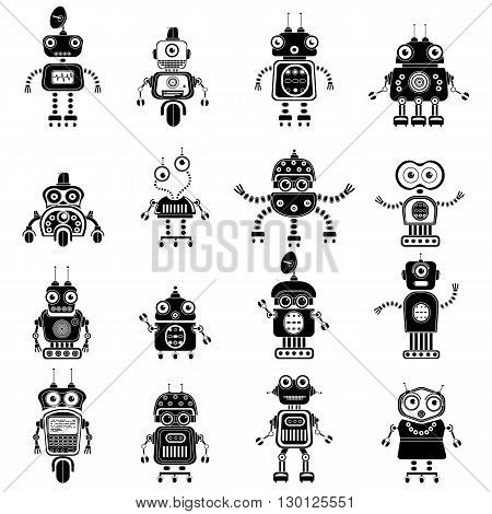 Robot icons, mono vector symbols. Vector robot silhouettes set. Flat design style robots and cyborgs. Science fiction androids with artificial intelligence. Eps10