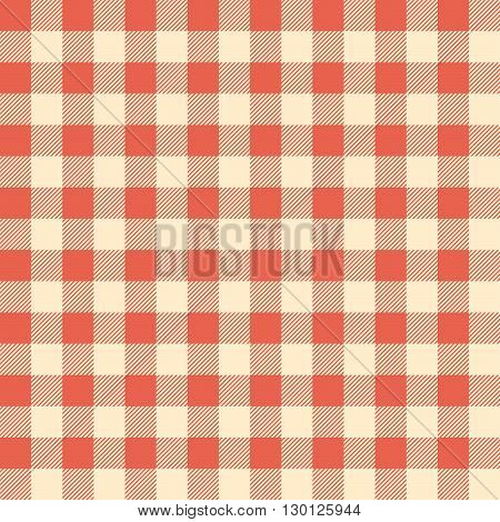 Red Checked Tablecloth. Vector Illustration Of A Red Checked Tablecloth For Background