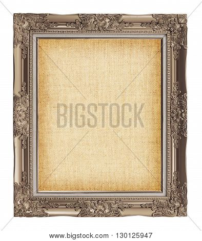 Old Brown Frame With Empty Grunge Linen Canvas For Your Picture, Photo, Image. Beautiful Vintage Bac