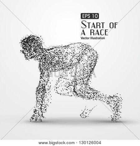 Running Man,particle divergent composition Galloping horse,Many particles,sketch ,vector illustration,The moral of hard work ahead.