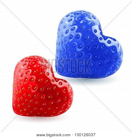 Red and blue strawberry hearts. Symbol of woman and man. Feeling and relationships