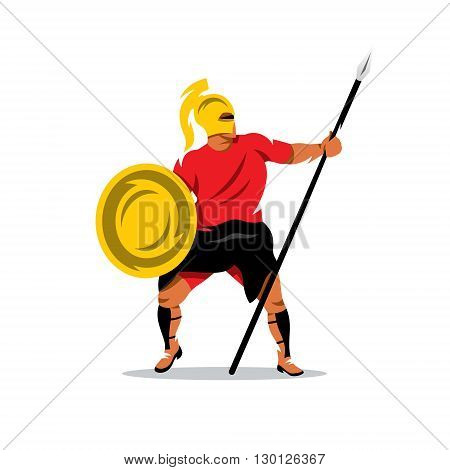 Gladiator in a helmet holding shield and a spear. Isolated on a white background