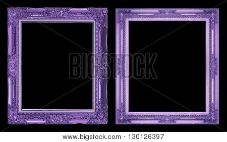 Collection 2 Antique Purple Frame Isolated On Black Background, Clipping Path