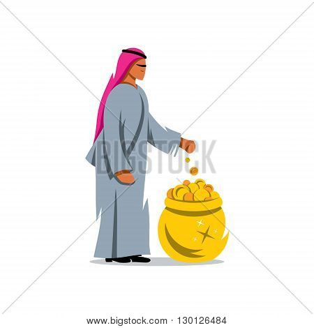 Arab throws a coin into the pot of treasure. Isolated on a white background