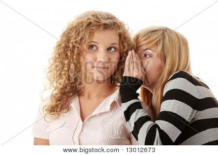 Two happy young girlfriends talking secrets isolated over white