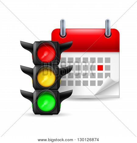 Traffic lights and calendar with marked day on white background. Road safety day